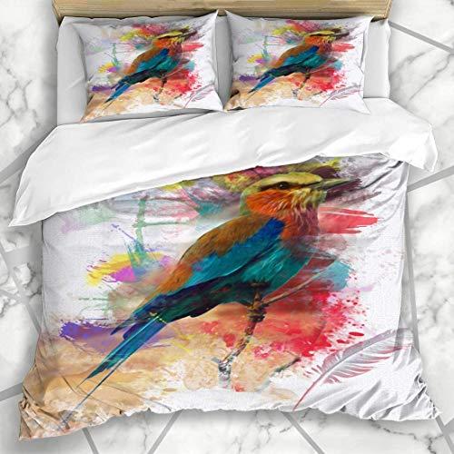 Set di biancheria da letto 695 set copripiumino arte piuma astratta uccello colorato pittura occhio natura lilla petto rullo artistico orologio microfibra biancheria da letto con 2 federe cuscino