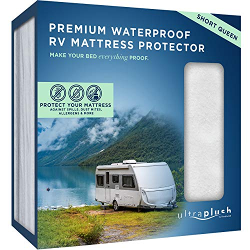 UltraPlush Premium Waterproof Mattress Protector, Luxurious, Soft & Comfortable, Protects Against Dust Mites and Allergens, Motorhome, Camper and Travel Trailer Mattresses (RV Short Queen 60' x 75')