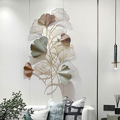 WLHER Metal Wall Art Creative Handmade Rose Gold Apricot Leaf Shape, Suitable for Family Living Room/Coffee Shop/Study Room/Club/Hotel, Vertical Suspension, 12876CM