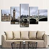 KOPASD Wall Art - Londres Big Ben Bridge Tower City 5 Piezas Enmarcado Salon,Dormitorio,Baño,Comedor para la decoración Moderna del hogar(Enmarcado Tamaño 200x100cm)
