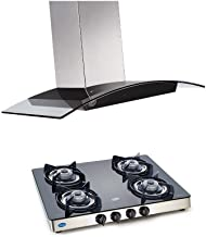 GLEN Kitchen Chimney GL 6071 SX TS 60cm 1000 m³/hr + GL Cooktop 1041 GT Stainless Steel Glass Gas Stove Combo Offer