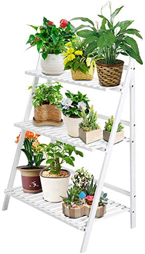 Escalera para macetas, Escalera para Flores, estantería de Madera, estantería de 3 Niveles, Escalera para Flores, Escalera para Plantas, Escalera para Interior, jardín, 70 x 40 x 96 cm
