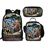 GHH 3D Dinosaurio Patrón Mochilas, Bolsa De Estudiantes Casuales Conjunto para Niños Adolescentes/Niñas Mochila + Bolsa De Almuerzo + Estuche De Lápiz,Color2