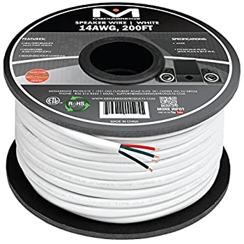 Mediabridge 14AWG 4-Conductor Speaker Wire  200 Feet White  - 99.9% Oxygen Free Copper - ETL Listed & CL2 Rated for in-Wall Use  Part# SW-14X4-200-WH