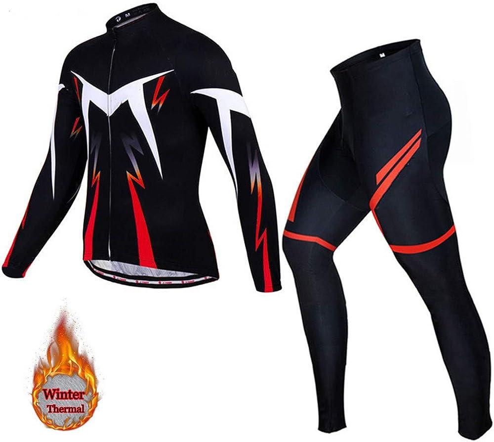 YMOMG Herren Langarm Jersey Anzug Herbst und Winter Sportswear Anzug Langarm Winddicht Fahrradbekleidung Anzug 5D Hosen Outdoor Warm Winddicht Jacke
