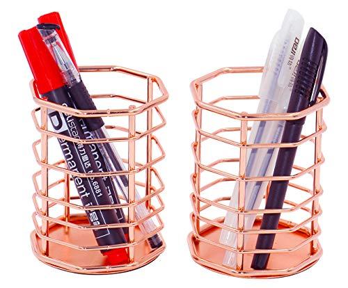 PAG Rose Gold Pencil Holders Cup Metal Wire Pen Organizer Makeup Brush Holder for Desk, Set of 2