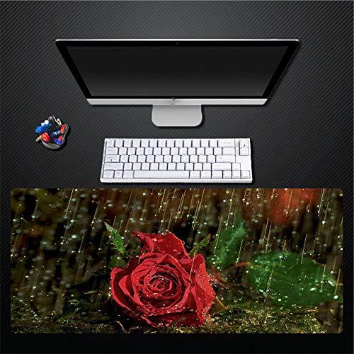 Muismat creatief eenvoudige rode roos groen blad plant oversized waterdicht dik dik rubber muispad pad pad Home Office speelmat cadeau 400x700mm