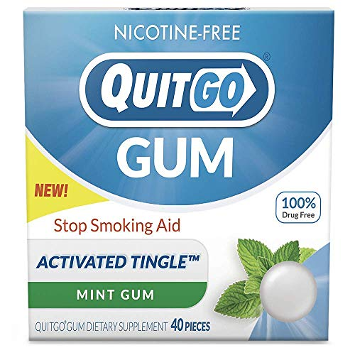 QuitGo Nicotine Free Gum Drug-Free chew-able Texture Quit Smoking Products Refreshing Natural Mint Flavor Reduce Cravings and Overcome The Urge to Smoke with Activated Tingle (Mint Burst, 40 Count)