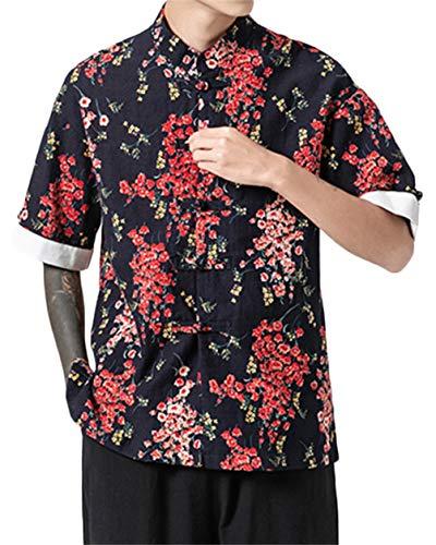 GUOCU Hombres Vintage Japonés Kimono Camisa Haori Estampado Casual Holgado Cárdigan Camiseta Color4 L