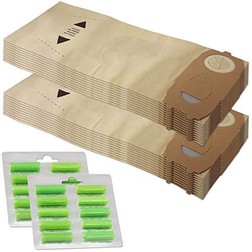 Set di 20 sacchetti per aspirapolvere + 20 bastoncini profumati adatti per Vorwerk Folletto VK 118 119 120 121 122 - FP 118-122, con carta speciale