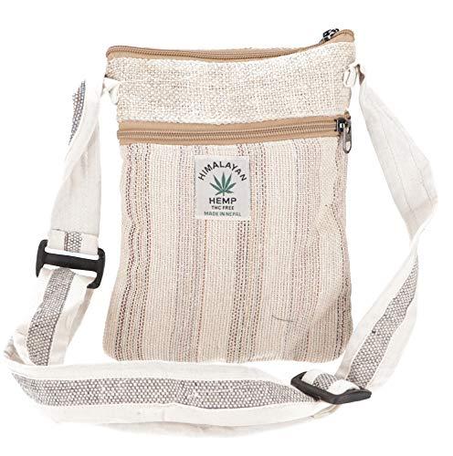 Guru-Shop Hanf Schultertasche, Hippie Tasche, Nepal Tasche - Uni, Herren/Damen, Beige, Baumwolle, Size:One Size, 20x17x4 cm, Alternative Umhängetasche, Handtasche aus Stoff
