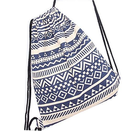 DANUC Gym Sack Bag Drawstring Backpack Sport Bag for Men & Women School Travel Backpack (Blue)