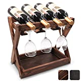 Prodigen Rustic State Cava Solid Wood Wine and Glass Rack Cork Storage Tray Table Top Bottle Holder Walnut Brown