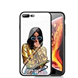 RUIWEI RWNO-203 CardiB Cardi B Designed for iPhone 7 Plus/8 Plus Case,Tempered Glass Back Cover and Black Anti-Scratch Shock Absorption Cover Case