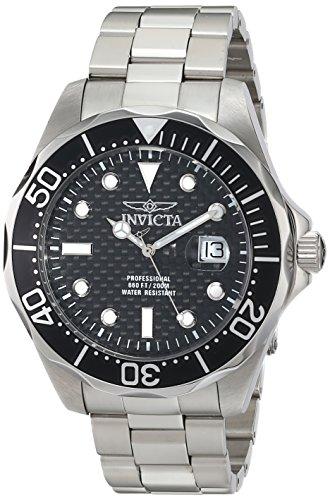 Invicta- Reloj de hombre, 52 mm, con correa y caja de acero inoxidable, mecanismo de cuarzo y esfera negra.