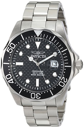Price comparison product image Invicta Men's 12562X Pro Diver Black Carbon Fiber Dial Stainless Steel Watch