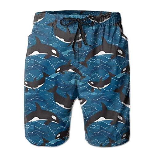 Maillot de Bain pour Homme Short de Bord de Plage Orcas Deep Beach Short de Sport à séchage Rapide avec Poches Doublure en Maillage,XL