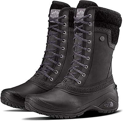 The North Face Women's Shellista II Mid Insulated Boot - TNF Black & Plum Kitten Grey - 5