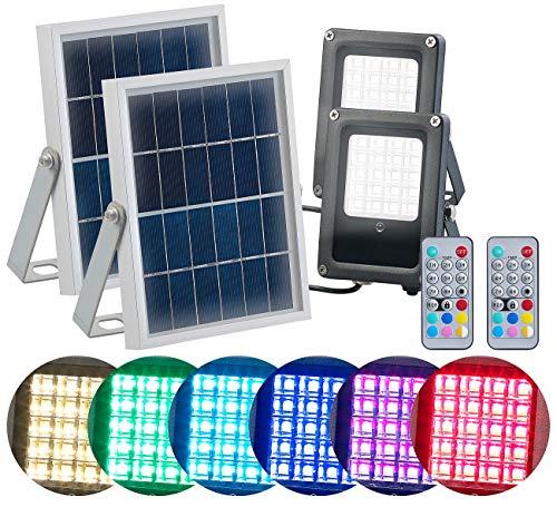 Luminea Solarfluter: 2er-Set Solar-LED-Fluter für außen, RGBW, 10 Watt, mit Fernbedienung (Solar-LED-Flutlichtstrahler)