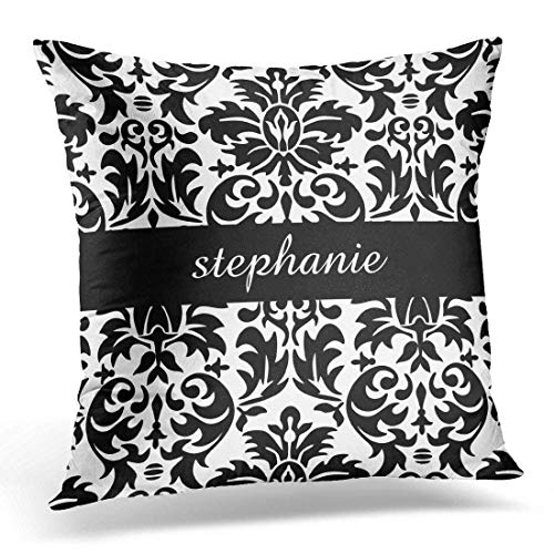 N\A Throw Pillow Cover Girly Damask Patterns with Black and White Designer Decorative Pillow Case Home Decor Square Pillowcase