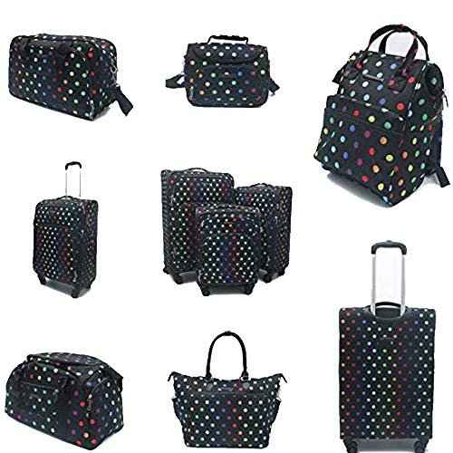 Fantana London Collection Light Pack Spinner Suitcase/Backpack/Holdall/Tote Bag/Vanity Case - Polka Dots (Complete Travel Set)