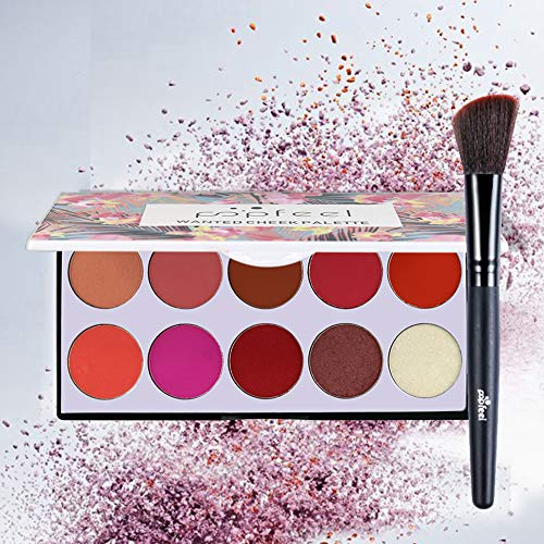 Maquillaje Colorete Paleta Elegante Colorete Colorete Largo 10 colores Mejilla natural Colorete Contorno de cara Maquillaje