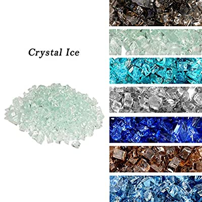 "Skyflame High Luster 10-Pound Regular Fire Glass for Fire Pit Fireplace Garden Landscaping Crystal Ice 1/2"" Size"