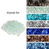 Skyflame High Luster 10-Pound Regular Fire Glass for Fire Pit Fireplace Garden Landscaping Crystal Ice 1/2' Size