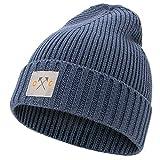 Occulto Mütze für Herren & Damen mit Cotton Patch  Winter Beanie Wintermütze für Männer, Damen, Jungen & Mädchen (Navy)