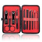 AueDsa 10PCS Set de Manicura Pedicura Set de Cortauñas Mujer Hombre Set Manicura Acero Inoxidable Rojo