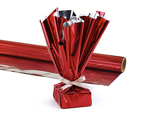 Hygloss Products Mylar Gift Wrap Roll - Great for Gift Bags, Baskets – 24 Inch x 8.3 Feet, Red