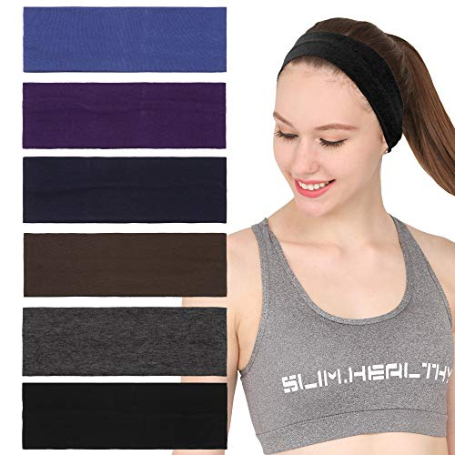 Folora 6Pcs Stretchy Elastic Knitted Headbands, Cotton Sports Hairband for Women Girls, Suitable for Yoga, Pilates, Running, Cycling