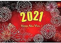 新しい2021新年パーティーの背景2.1x1.5m新年の花火大会の写真の背景明けましておめでとう写真2021新年のお祝いの背景A14