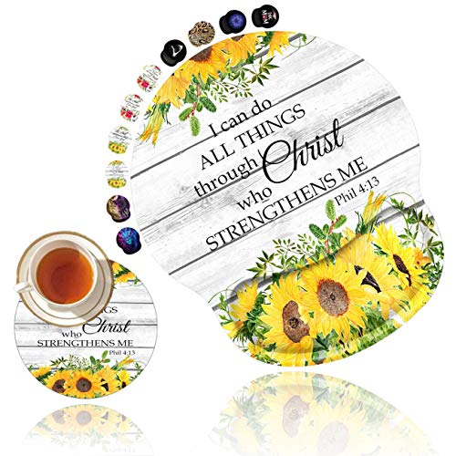 Ergonomic Mouse Pad with Gel Wrist Rest Support, Non Slip PU Base Mouse Pad Wrist Rest for Computer,Office Gaming, Pain Relief Philippians 4-13 Christian Quotes Bible Sunflowers + Cup Coaster