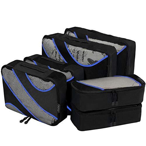 Amazon Brand - Eono Organizadores de Viaje Cubos de Embalaje Organizadores para Maletas Travel Packing Cubes Equipaje de Viaje Organizadores Organizadores para el Equipaje - Negro, 6-Pcs