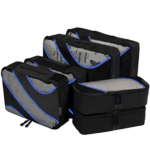 Eono by Amazon - Packing Cubes Travel Luggage Organizers Suitcase Organizer Packing Organizers, 6 Set (2L+2M+2Slim), Black