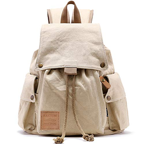 【BACTIM】リュック 男女兼用バックパック大容量 a4サイズや13インチパソコン対応 多様なポケット付きリュックサック 出張 /旅行/通学/通勤/お出かけに適用全3色選択 (オフホワイト)