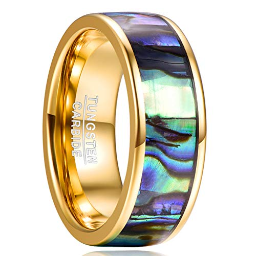 NUNCAD Ring Herren Damen Gold Wolframcarbid Ring mit Hart Abalone Muschel Breite 8mm Ehering Verlobungsring Partner Ring Größe 56 (16)
