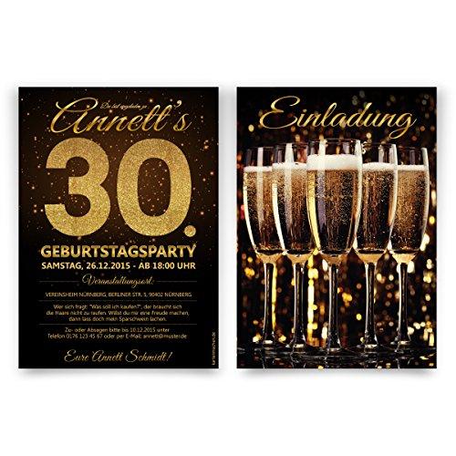 Einladungen Geburtstag (30 Stück) - Sekt Dunkel - Champagner Silvester Einladungskarten