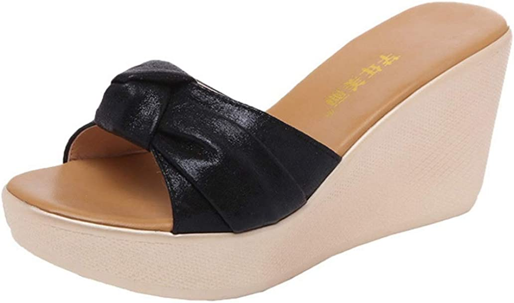 CYBLING Women's Wedge Slides Sandals Bowtie Platform Waterproof High Heels Thick Bottom Outdoor Slippers