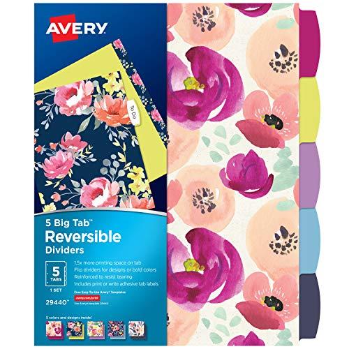 Avery 5 Tab Reversible Fashion Binder Dividers, Design May Vary, Big Tabs, 1 Set (29440),Assorted
