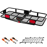 """KING BIRD Upgraded 60' x 24' x 6' Folding Hitch Mount Cargo Carrier, 500LBS Capacity Luggage Basket Fits to 2""""Receiver with Elastic Net and Packing Straps"""