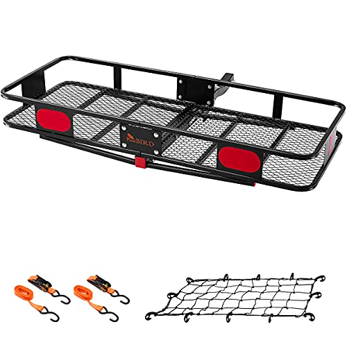 KING BIRD Upgraded 60' x 24' x 6' Folding Hitch Mount Cargo Carrier, 500LBS Capacity Luggage Basket...