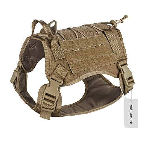 Motusamare Service Dog Vest Training Hunting Molle Nylon Water-Resistant Military Patrol Adjustable Comfortable K9 Tactical Dog Harness with Handle (Camouflage) (M, Brown)