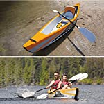 JNWEIYU Double Canoe Kayak, High-end Inflatable Boat, Brushed Material,2-Person Inflatable Kayak Set with Aluminum Oars… 8 Inflated size:Single 325 X 72cm , Double 425 x 78cm. Includes a high-output pump and aluminium oars. Capacity person maximum weight 120kg/200kg.