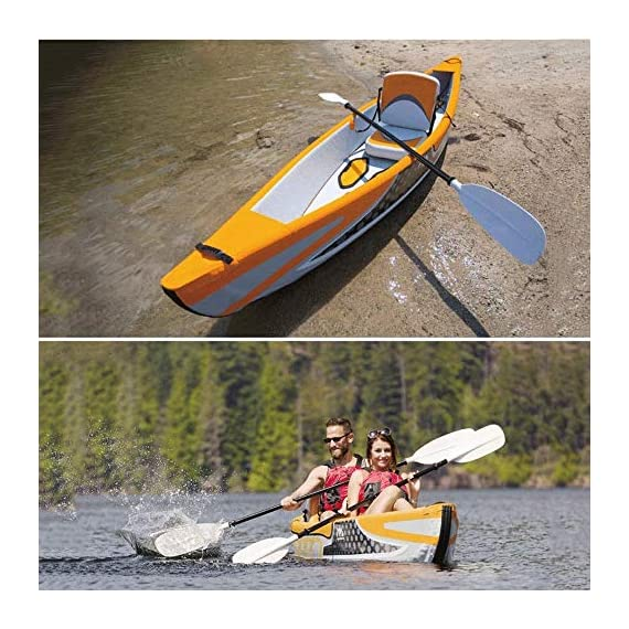 JNWEIYU Double Canoe Kayak, High-end Inflatable Boat, Brushed Material,2-Person Inflatable Kayak Set with Aluminum Oars… 2 Inflated size:Single 325 X 72cm , Double 425 x 78cm. Includes a high-output pump and aluminium oars. Capacity person maximum weight 120kg/200kg.