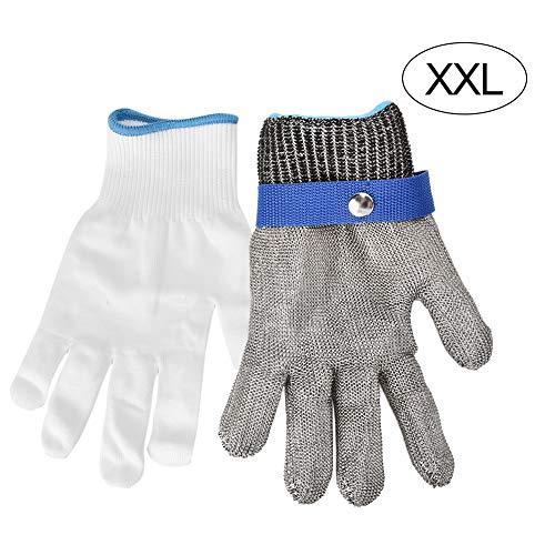 Level 5 snijbestendige roestvrijstalen werkhandschoen, 1 stuk metalen mesh handschoen veiligheid voedselverwerking vlees snijgereedschap voor slagers (XXL)