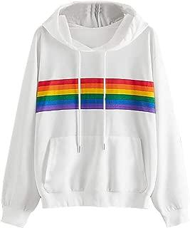 Women's Casual Hoodie Rainbow Print Loose Long Sleeve Hooded Sweatshirts Pullover with Pocket