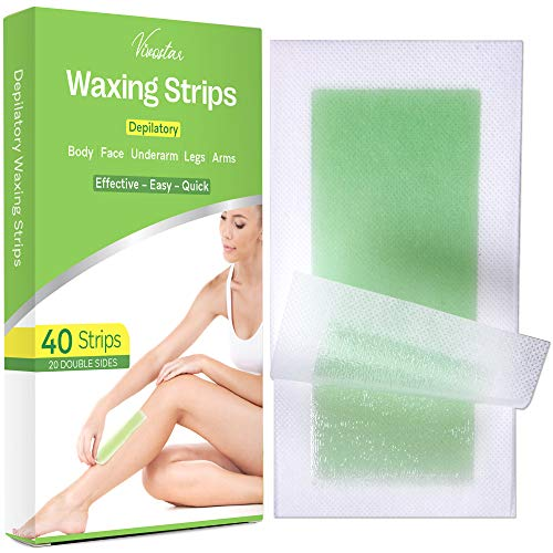 Wax Strips, Hair Removal Wax Kit for Arm, Leg, Brazilian, Bikini Women, 40 Count (Large Size Wax Strips)