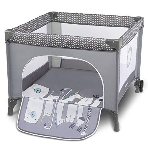 Lionelo Sofie - Parque infantil para bebé (desde el nacimiento hasta 15 kg, con bolsa de transporte), color gris
